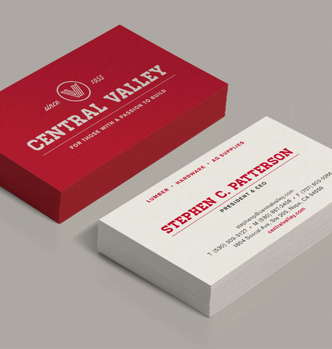Central Valley branded business cards